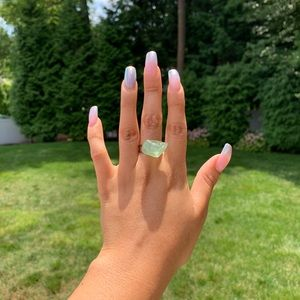 Tumbled Green Jasper Stone Adjustable Ring